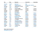 High School Boy's Basketball Schedule