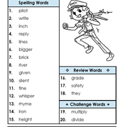 Spelling Words for 02/22-03/04