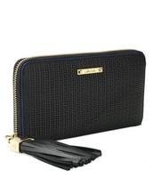 Mercer Zip Wallet, Black Basket Weave