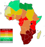 HIV % of adults by coutry