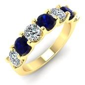 Luna Seven Stone Sapphire and Diamond Ring