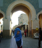 My aunt Diana posing at the Morocco Pavillion in the entrance of Morocco.