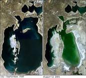 het aralmeer voor en na het ecologisch drama