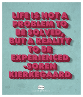 Life is not a problem to be solved, but a reality to be experienced  -Soren Kierkegaard