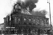 A synagogue burning because of the Nazis in Frankfurt,Germany 10/11/1938