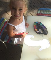Sydney was eager to design a rainbow seahorse