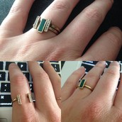 Malachite + Pave Stackable rings