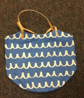 Canvas Bucket Tote $29 (Blue Scribble)