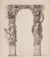 Design for an Arch with Figures of Music and War