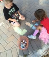 Sidewalk Chalk designs Oona and Wyatt