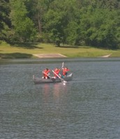 Gavin, Jacob, and Bryson figuring the canoeing thing out!