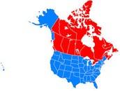 USA and Canda Map