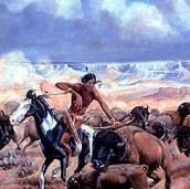 A Kiowa Man Hunting Animals On A Horse.