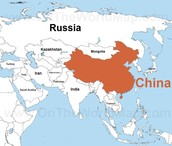 China on the world map