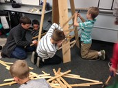 The kids building our 6 foot trees!