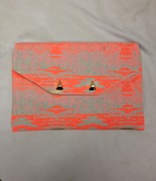 City Slim Clutch - Aztec Coral $25