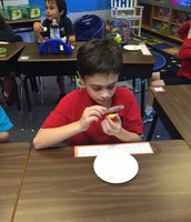 Drew examining the layers of the Earth using an egg!