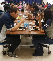 Families filled the tables