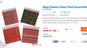 Zodiac Pencils 11.48 for 100