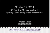 Presentation on 21 f of the School Aid Act