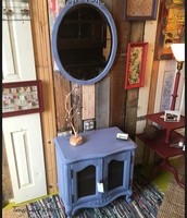 Blue Side Table ~ $225 / Blue Oval Mirror ~ $145