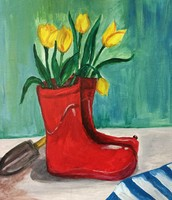 Rain Boots with Tulips