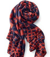 UNION SQUARE SCARF - MARINE BLUE/RED IKAT $20 (65% off)
