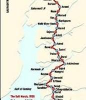 Map of Gandhi's route taken on Salt March