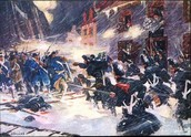A painting of the battle of Quebec.