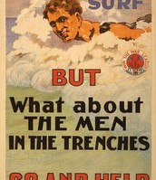 'It is nice in the surf but what about the men in the trenches? Go and help'
