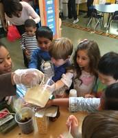 Sarita pours juice- yummy