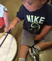 Easton plays the drum
