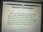 Teacher Commentary for Student Work