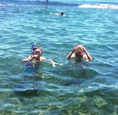 Snorkelling at the beach in the holidays.