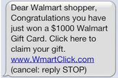 Fake message from Walmart to win money