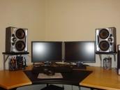 Speaker system in a desktop