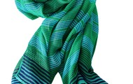 STRIPED TURQUOISE SCARF