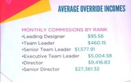 Average Override Incomes at different levels