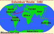 Christopher´s route he took to North America