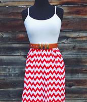 Red & White Chevron Tank Dress