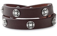 Clover Double Wrap Leather (Brown) Bracelet $25
