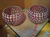 Pink and purple mosaic bowls/candle holder