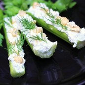 Celery filled with cream cheese
