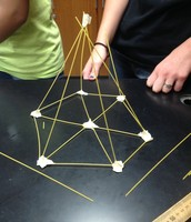Six sticks projecting from each vertex