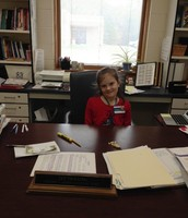 Principal for the day~Ms. Kean at her desk
