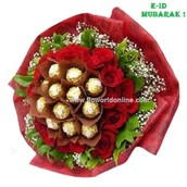 16 Pcs Ferrero Rochers with 24 Pcs Roses in Tissue Packing
