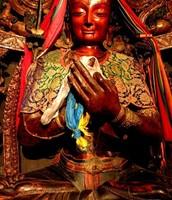 15th Century Wood Statue of Songtsen Gampo