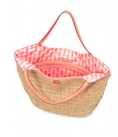 Textured with Bright Coral Straps & Pineapple Print Interior