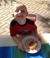 Wyatt displaying his food art