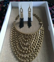 Gold & Black Necklace & Earring Set